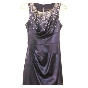 Navy Cocktail Dress with Silver Sequins